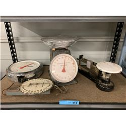 SHELF LOT OF VINTAGE SCALES