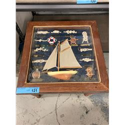 MINI END TABLE WITH GLASS DISPLAY OF SAILBOAT