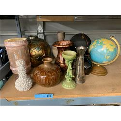 SHELF LOT OF DECOR PROPS