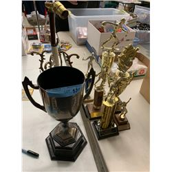 BOX LOT TROPHIES AND VINTAGE LAMP