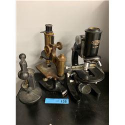 LOT OF 2 X VINTAGE MICROSCOPES & CAST IRON DEVICE