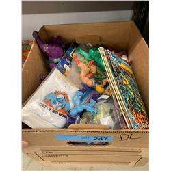 BOX LOT OF VINTAGE TOYS & COMIC BOOKS