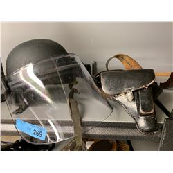 AUTHENTIC M3 HELMET WITH BLAST SHIELD & HOLSTER