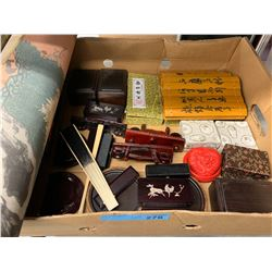 BOX LOT OF ASIAN DECOR PROPS FROM TV SHOW