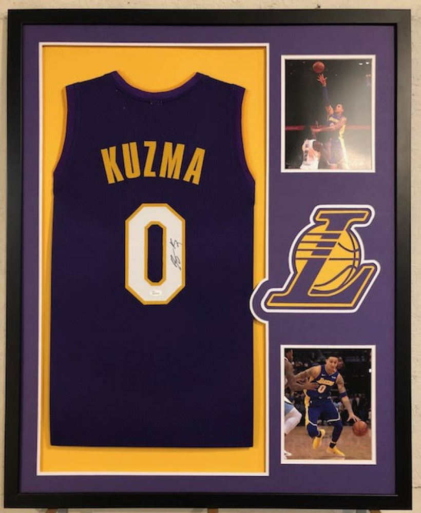 the latest 2eef4 d5893 Kyle Kuzma Signed Lakers 34x42 Custom Framed Jersey ...