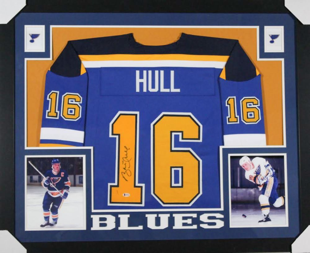 cheaper 31d7c 1ebb2 Brett Hull Signed St. Louis Blues 35x43 Custom Framed Jersey