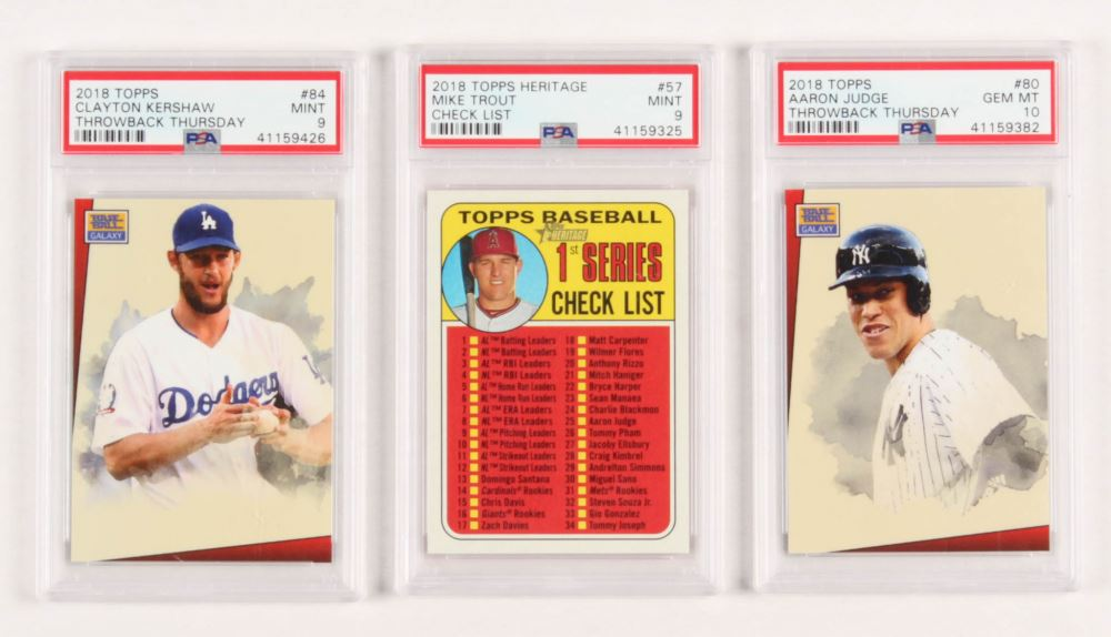 Lot Of 3 Psa Graded 2018 Topps Baseball Cards With