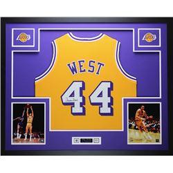 best website 4eb60 31378 Jerry West Signed Lakers 35x43 Custom Framed Jersey (JSA ...