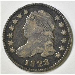 1823/2 BUST DIME VF MARKS ON OBV