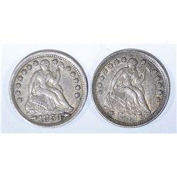 1853 & 54 SEATED LIBERTY HALF DIMES VF/XF