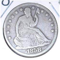 1858-O SEATED HALF DOLLAR, VG