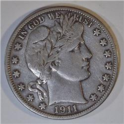 1911-S BARBER HALF DOLLAR XF