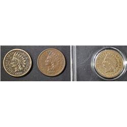 1859 F DARK, 60 G, 75 XF SPOT INDIAN CENTS