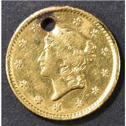 1853 GOLD DOLLAR,  HOLED