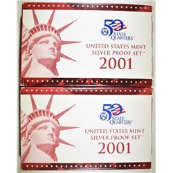 2-2001 U.S. SILVER PROOF SETS IN ORIG BOX/COA