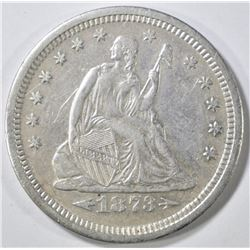 1873-S SEATED LIBERTY QUARTER  XF  LIGHT SCRATCHES