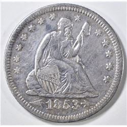 1853-O ARROWS & RAYS  SEATED QUARTER  XF/AU
