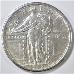 1917 TYPE 1 STANDING LIBERTY QUARTER  AU/BU