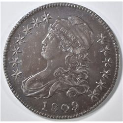1809 NORMAL EDGE BUST HALF DOLLAR   AU/BU