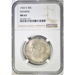 1923-S MONROE COMMEM HALF DOLLAR  NGC MS-63