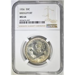 1936 BRIDGEPORT COMMEM HALF DOLLAR NGC MS-64