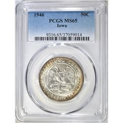 1946 IOWA COMMEM HALF DOLLAR  PCGS MS-65