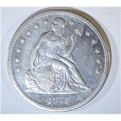 1871-CC SEATED LIBERTY DOLLAR  AU/UNC