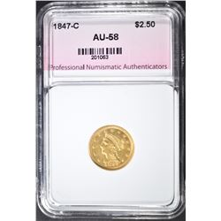 1847-C $2.5 GOLD LIBERTY HEAD  PNA AU BU