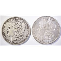 1880-O AU/BU & 1889-O VF MORGAN DOLLARS