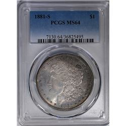 1881-S MORGAN DOLLAR PCGS MS-64 COLOR