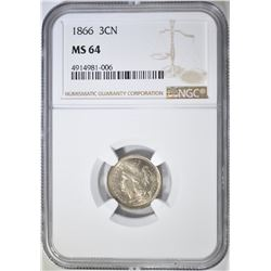 1866 3 CENT NICKEL  NGC MS-64
