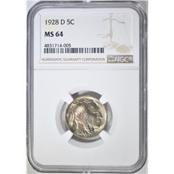 1928-D BUFFALO NICKEL  NGC MS-64