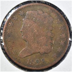 1828 HALF CENT, VG/FINE