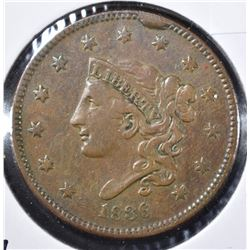 1836 LARGE CENT, VF/XF+
