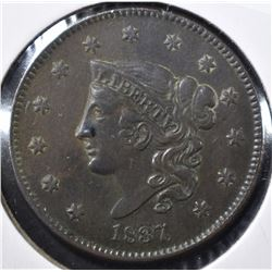 1837 MATRON HEAD LARGE CENT XF