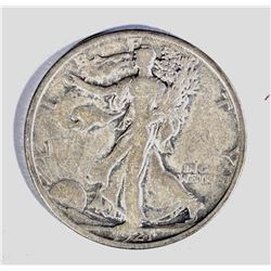1921-S WALKING LIBERTY HALF DOLLAR, FINE