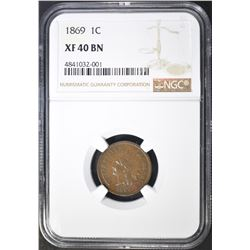 1869 INDIAN CENT NGC XF-40 BN