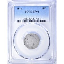 1886 LIBERTY NICKEL, PCGS FR-02 KEY DATE