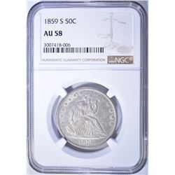 1859-S SEATED HALF DOLLAR, NGC AU-58