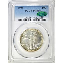 1941 WALKING LIBERTY HALF DOLLAR, PCGS PR-66+ CAC
