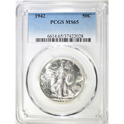 1942 WALKING LIBERTY HALF PCGS MS-65