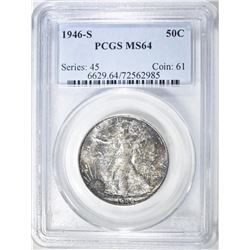 1946-S WALKING LIBERTY HALF PCGS MS-64