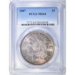 1887 MORGAN DOLLAR PCGS MS-64