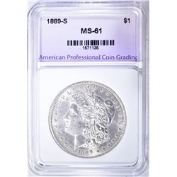 1889-S MORGAN DOLLAR, APCG UNCIRCULATED