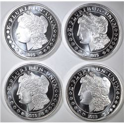 4-MORGAN DOLLAR INSPIRED ONE Oz .999 SILVER ROUNDS