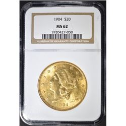 1904 $20.00 GOLD LIBERTY, NGC MS-62