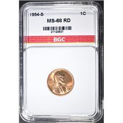 1954-S LINCOLN CENT BGC SUPERB GEM BU+ RED