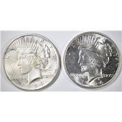 2 1924 PEACE DOLLARS BU