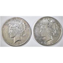 1925-S & 27 PEACE DOLLARS AU