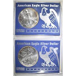 2-BU 1997 AMERICAN SILVER EAGLES IN PLASTIC